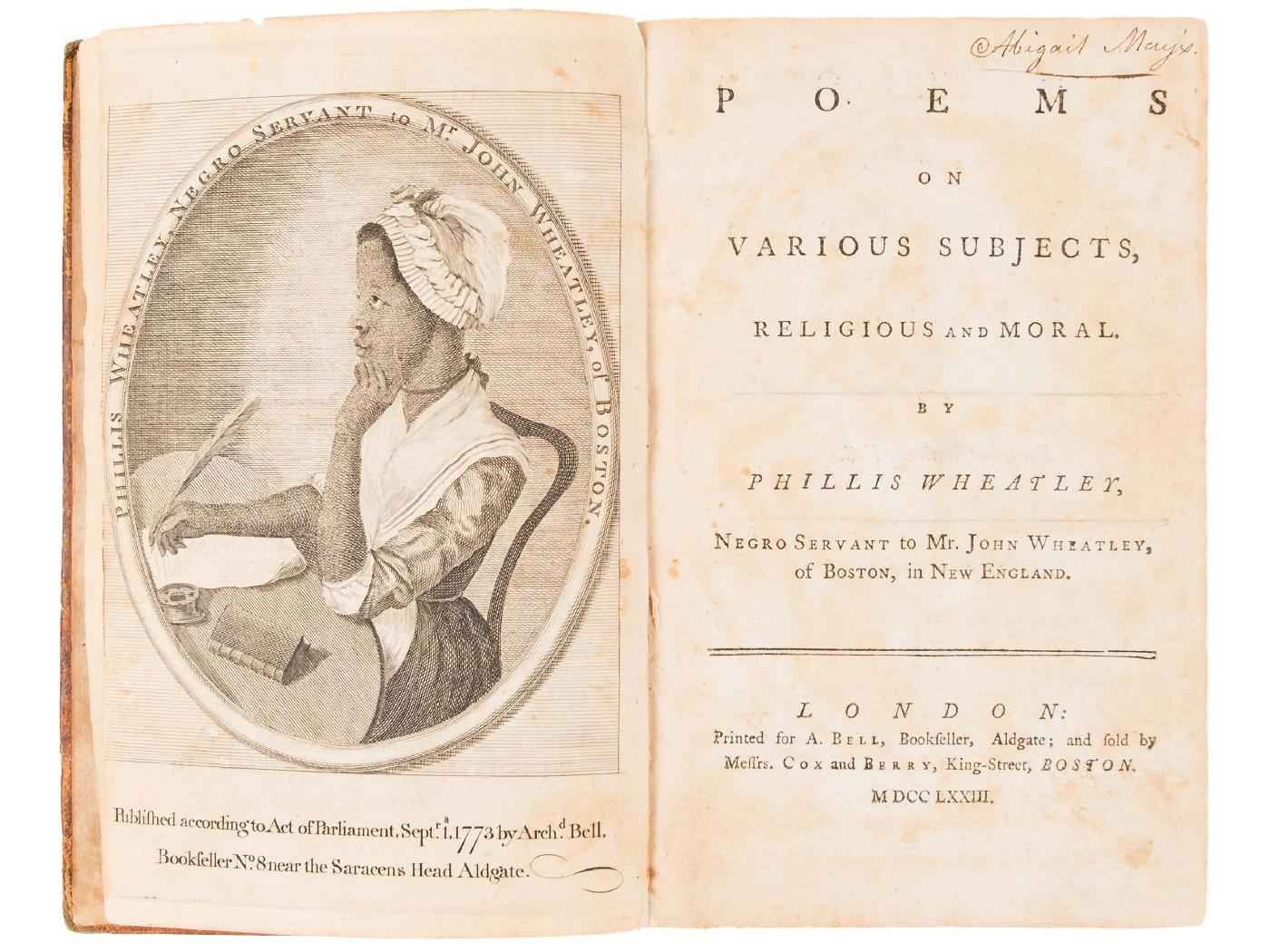 Engraving of Phillis Wheatley from her book, *Poems on Various Subjects, Religious and Moral*