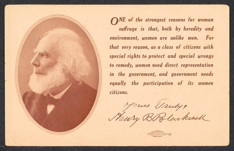 Postcard with photograph of Henry Blackwell and a quote from him in support of suffrage