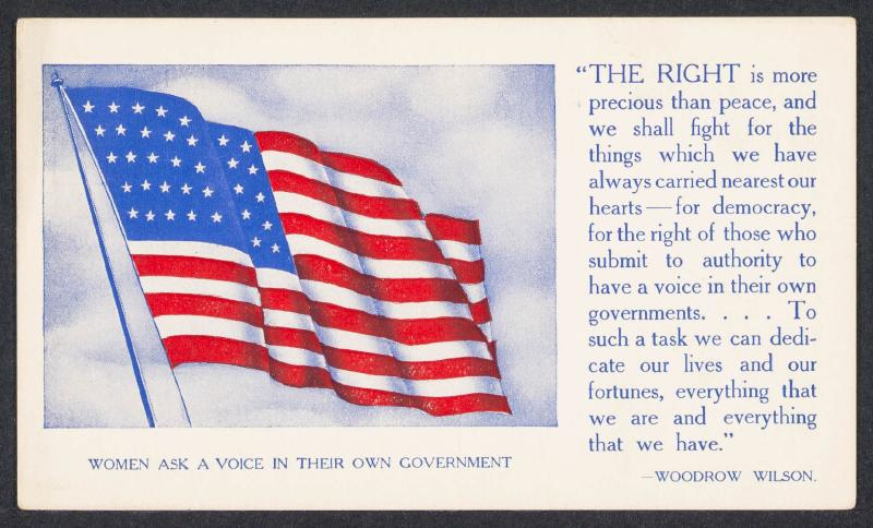 image of flag with Woodrow Wilson quote