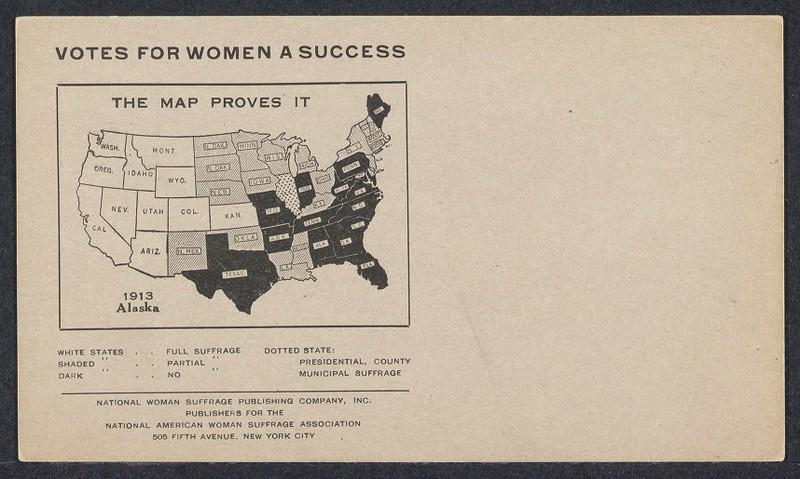 1919 map of the United States shaded to show the degree of suffrage allowed in each state