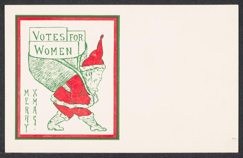 Christmas postcard depicting Santa delivering Votes for Women in his sack
