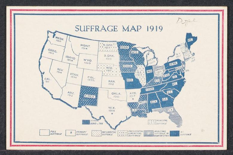 Postcard showing a map of the United States during 1919.