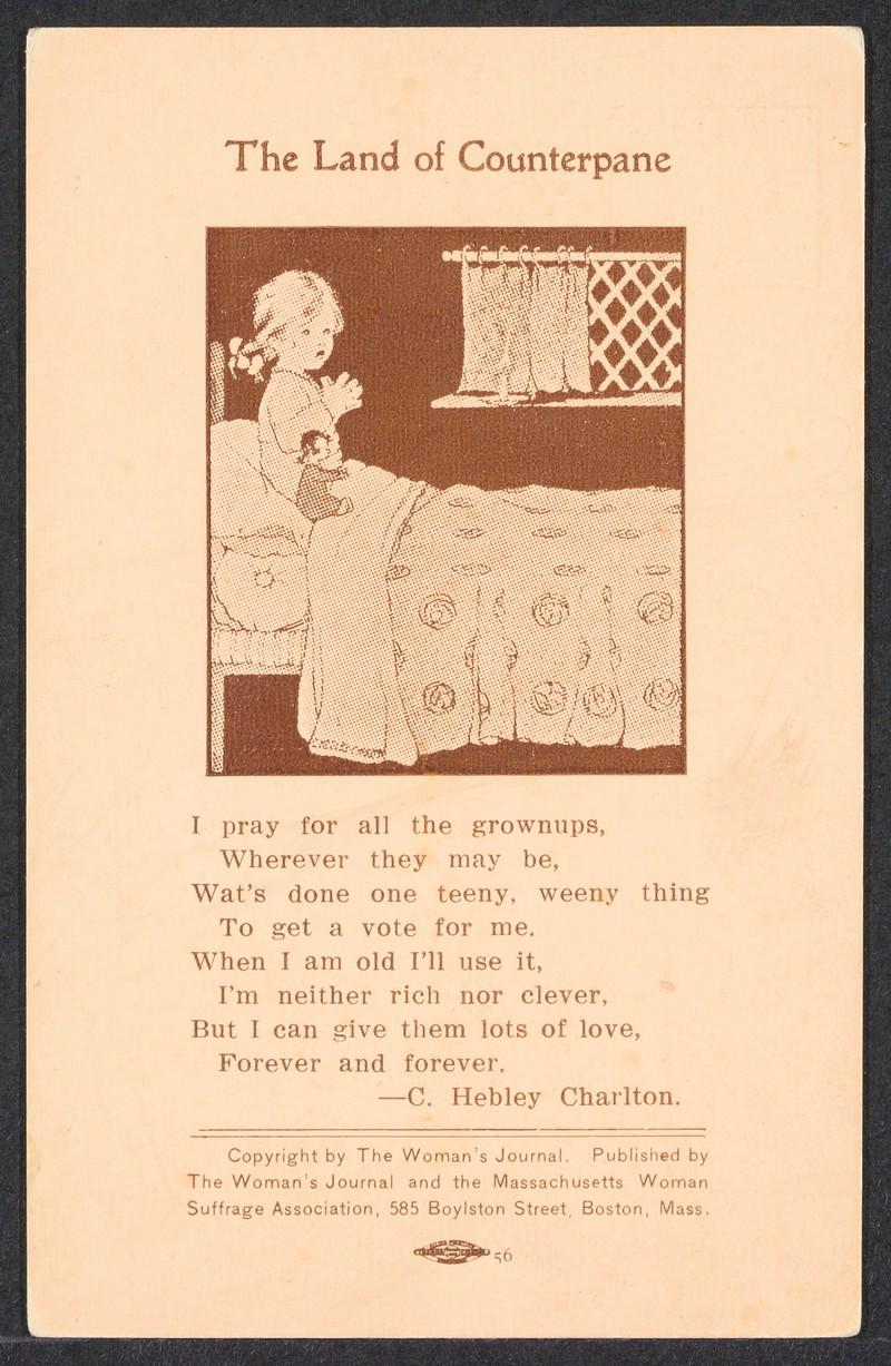 Cartoon depicting a young girl saying her bedtime prayers for suffrage