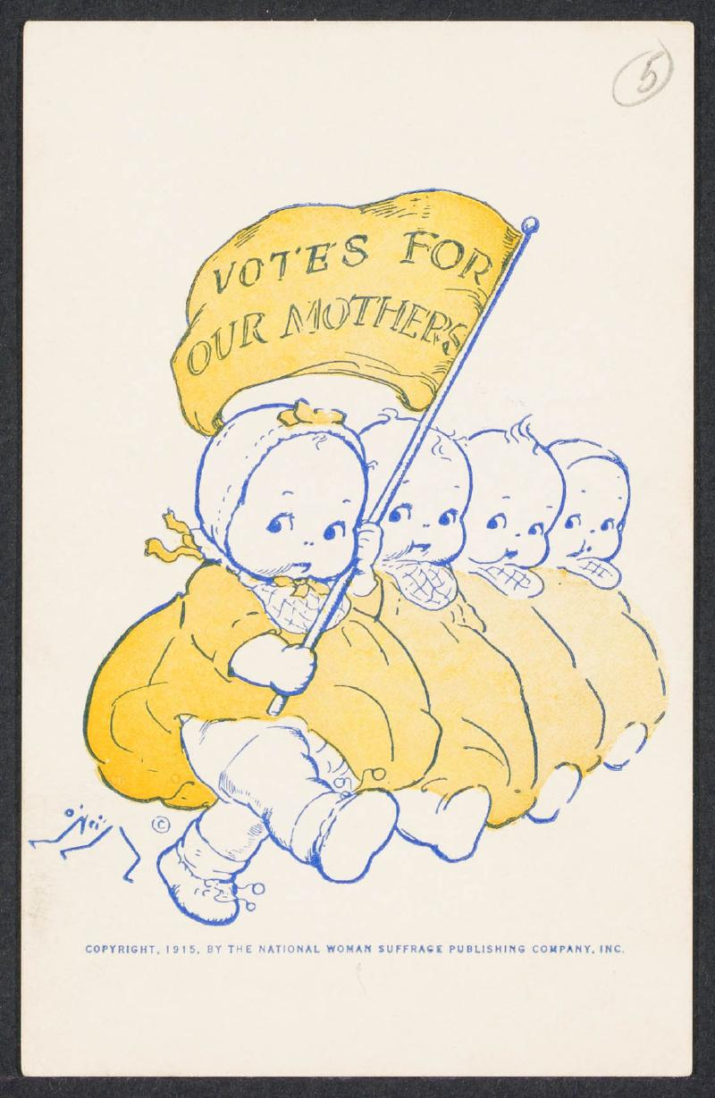 Cartoon of infants demonstrating for their mothers' right to vote