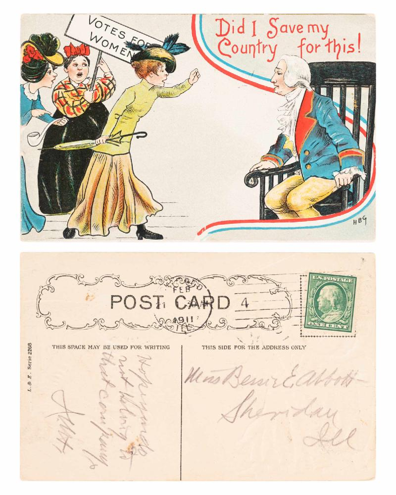 colorful postcard of man in colonial wig, sitting, with suffragists on right