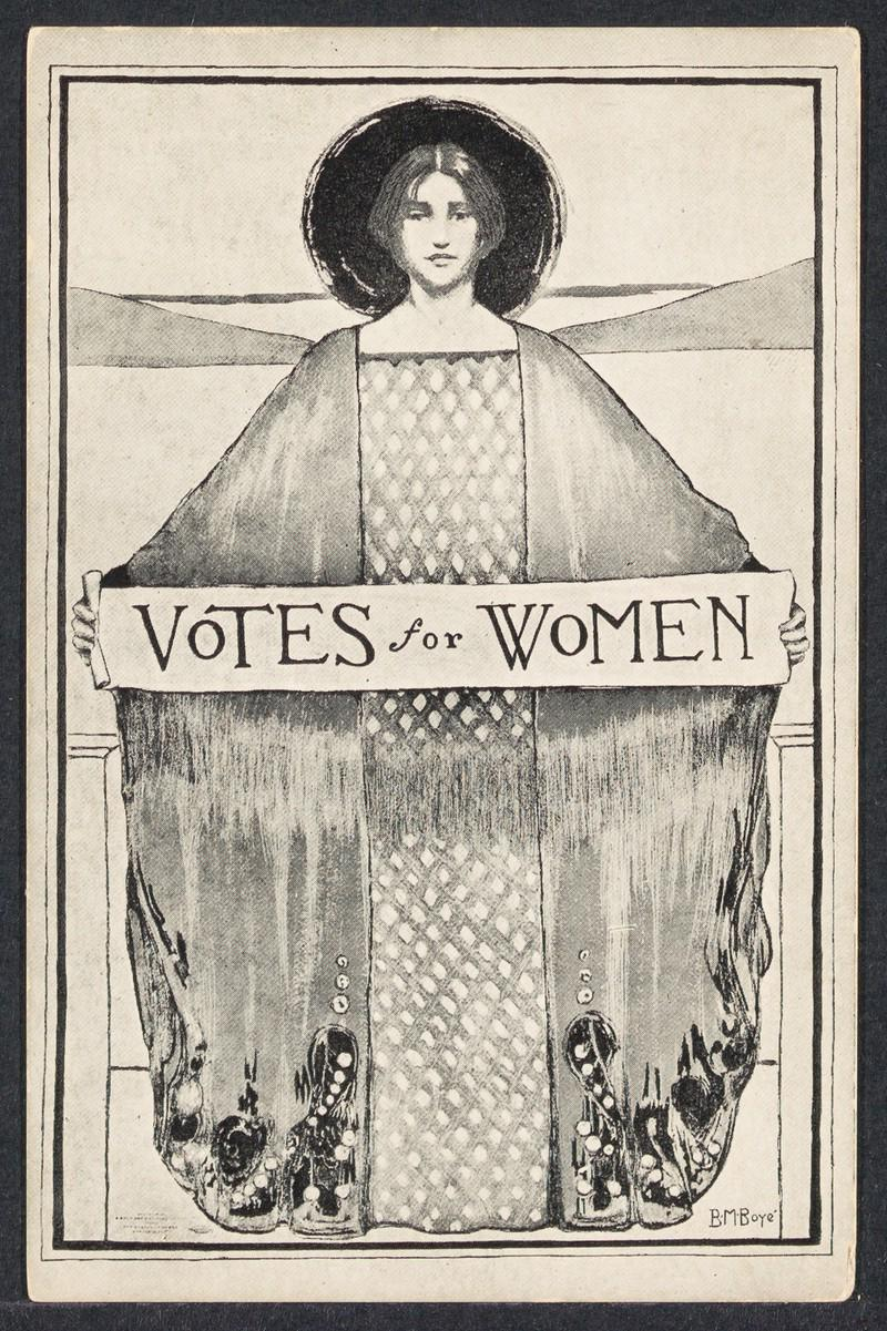 black and white version of Votes for Women poster