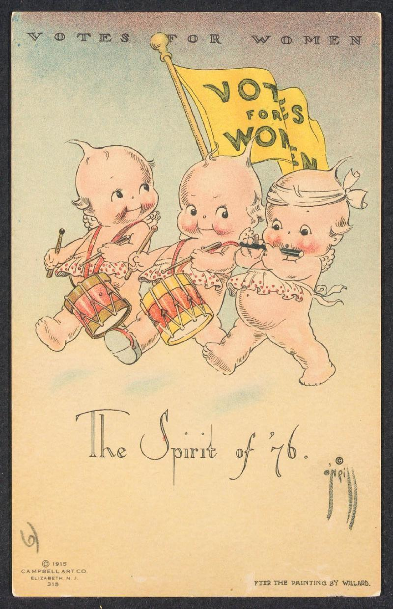 Cartoon with text Spirit of 76 depicting infants marching asl Revolutionary soldiers supporting suffrage