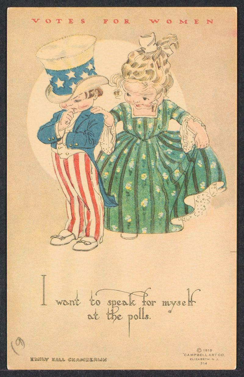 Cartoon with girl talking to Uncle Sam