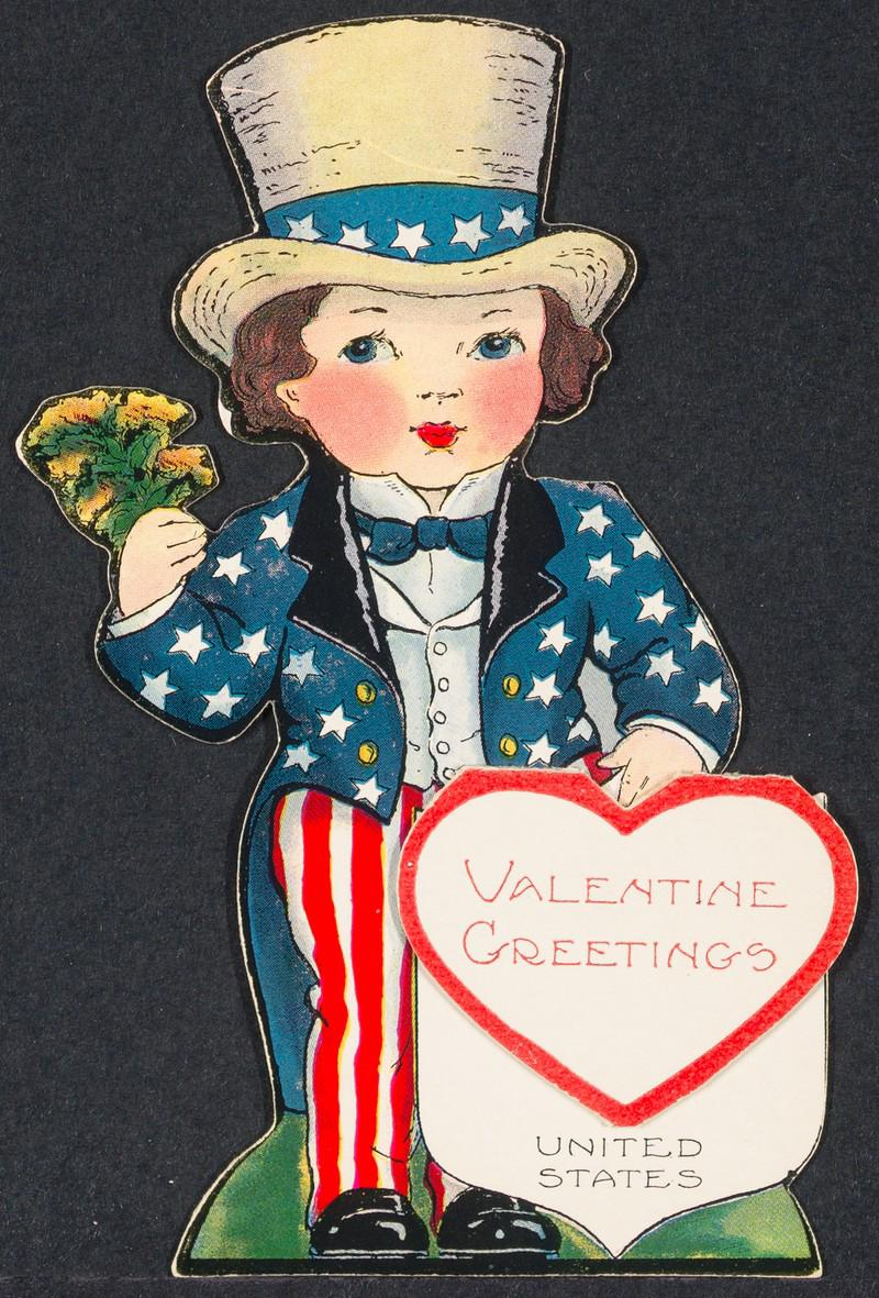 Colorful valentine depicting girl dressed as Uncle Sam bearing Valentine's Day greetings
