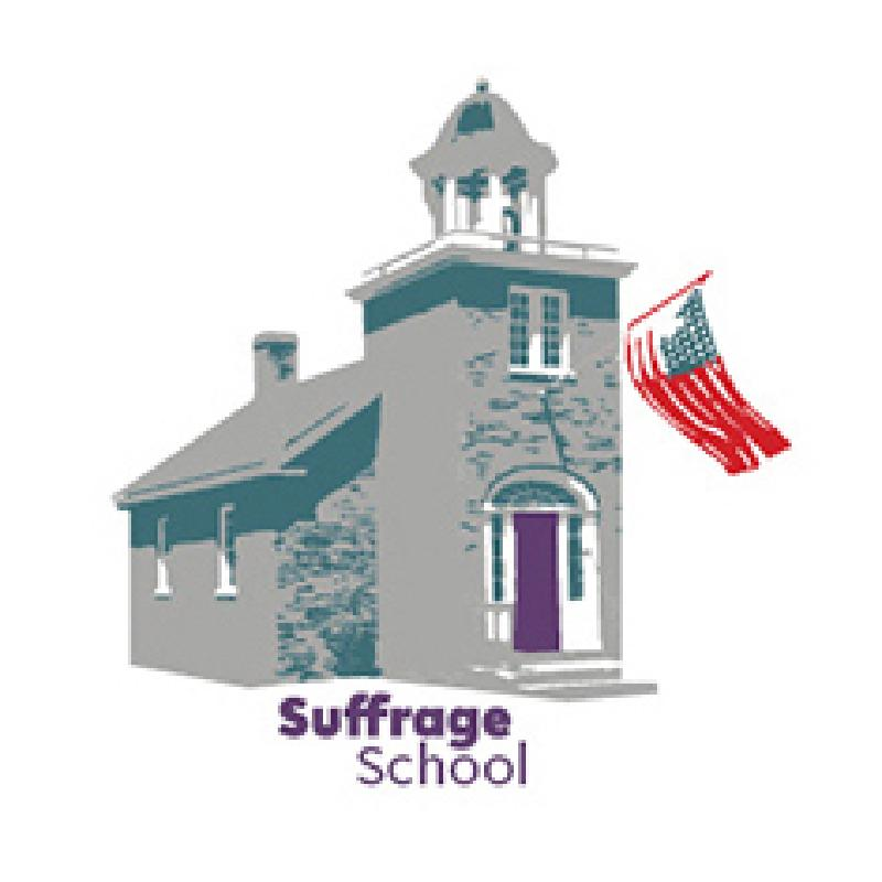Suffrage School logo depicting stylized school house with American flag and the words Sufrage School
